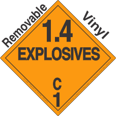 Explosive Class 1.4C Removable Vinyl DOT Placard