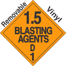 Explosive Class 1.5D Removable Vinyl DOT Placard