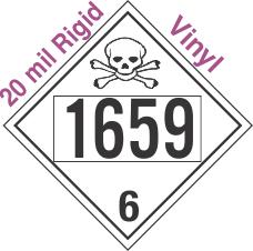 Poison Toxic Class 6.1 UN1659 20mil Rigid Vinyl DOT Placard