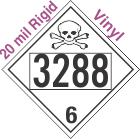 Poison Toxic Class 6.1 UN3288 20mil Rigid Vinyl DOT Placard