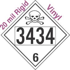 Poison Toxic Class 6.1 UN3434 20mil Rigid Vinyl DOT Placard
