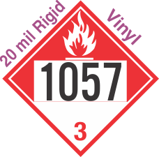 Combustible Class 3 UN1057 20mil Rigid Vinyl DOT Placard