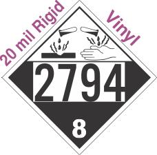 Corrosive Class 8 UN2794 20mil Rigid Vinyl DOT Placard