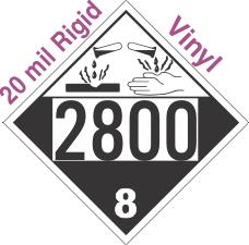 Corrosive Class 8 UN2800 20mil Rigid Vinyl DOT Placard