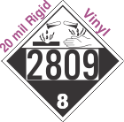 Corrosive Class 8 UN2809 20mil Rigid Vinyl DOT Placard
