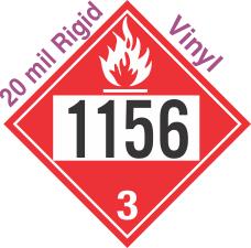 Flammable Class 3 UN1156 20mil Rigid Vinyl DOT Placard