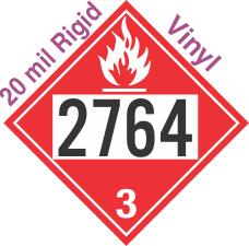 Flammable Class 3 UN2764 20mil Rigid Vinyl DOT Placard
