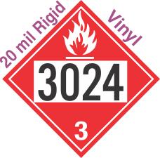 Flammable Class 3 UN3024 20mil Rigid Vinyl DOT Placard