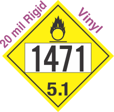 Oxidizer Class 5.1 UN1471 20mil Rigid Vinyl DOT Placard