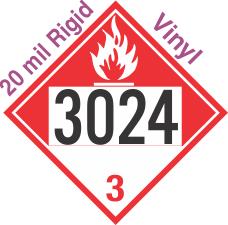 Combustible Class 3 UN3024 20mil Rigid Vinyl DOT Placard