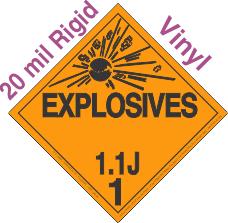 Explosive Class 1.1J 20mil Rigid Vinyl DOT Placard