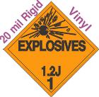 Explosive Class 1.2J 20mil Rigid Vinyl DOT Placard