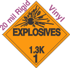 Explosive Class 1.3K 20mil Rigid Vinyl DOT Placard