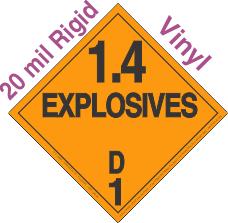 Explosive Class 1.4D 20mil Rigid Vinyl DOT Placard