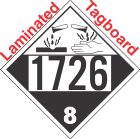 Corrosive Class 8 UN1726 Tagboard DOT Placard