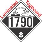 Corrosive Class 8 UN1790 Tagboard DOT Placard