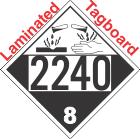 Corrosive Class 8 UN2240 Tagboard DOT Placard