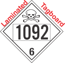 Poison Toxic Class 6.1 UN1092 Tagboard DOT Placard