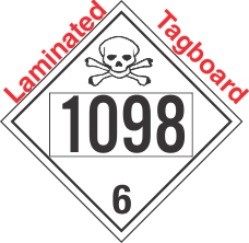 Poison Toxic Class 6.1 UN1098 Tagboard DOT Placard