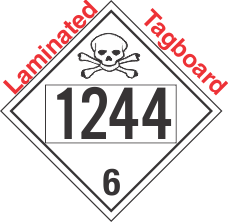 Poison Toxic Class 6.1 UN1244 Tagboard DOT Placard