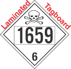 Poison Toxic Class 6.1 UN1659 Tagboard DOT Placard