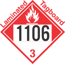 Combustible Class 3 UN1106 Tagboard DOT Placard