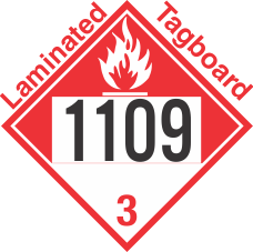 Combustible Class 3 UN1109 Tagboard DOT Placard