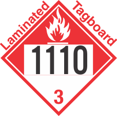 Combustible Class 3 UN1110 Tagboard DOT Placard