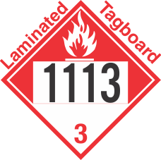 Combustible Class 3 UN1113 Tagboard DOT Placard