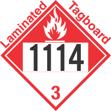 Combustible Class 3 UN1114 Tagboard DOT Placard
