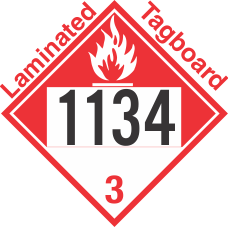 Combustible Class 3 UN1134 Tagboard DOT Placard