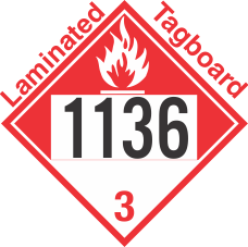 Combustible Class 3 UN1136 Tagboard DOT Placard