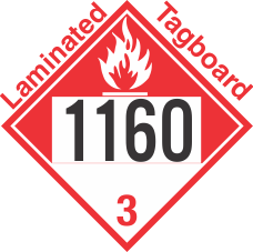 Combustible Class 3 UN1160 Tagboard DOT Placard