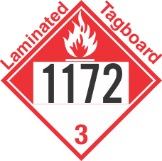 Combustible Class 3 UN1172 Tagboard DOT Placard