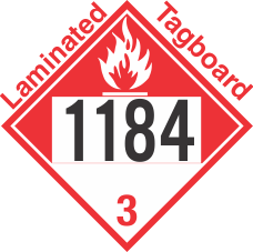 Combustible Class 3 UN1184 Tagboard DOT Placard