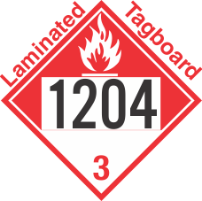 Combustible Class 3 UN1204 Tagboard DOT Placard