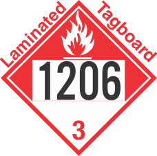 Combustible Class 3 UN1206 Tagboard DOT Placard