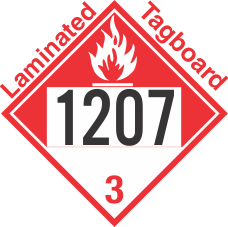 Combustible Class 3 UN1207 Tagboard DOT Placard