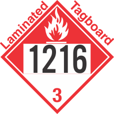 Combustible Class 3 UN1216 Tagboard DOT Placard