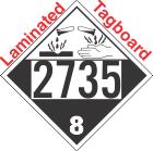 Corrosive Class 8 UN2735 Tagboard DOT Placard
