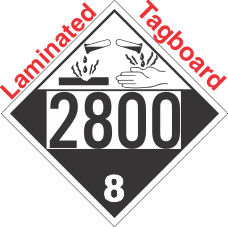 Corrosive Class 8 UN2800 Tagboard DOT Placard