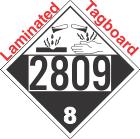 Corrosive Class 8 UN2809 Tagboard DOT Placard