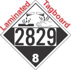 Corrosive Class 8 UN2829 Tagboard DOT Placard