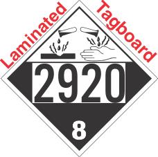 Corrosive Class 8 UN2920 Tagboard DOT Placard