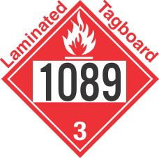 Flammable Class 3 UN1089 Tagboard DOT Placard