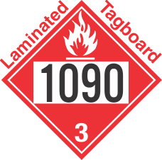 Flammable Class 3 UN1090 Tagboard DOT Placard