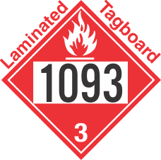 Flammable Class 3 UN1093 Tagboard DOT Placard