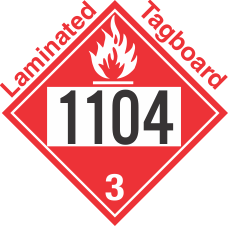 Flammable Class 3 UN1104 Tagboard DOT Placard