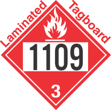 Flammable Class 3 UN1109 Tagboard DOT Placard