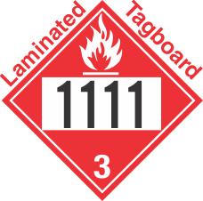 Flammable Class 3 UN1111 Tagboard DOT Placard